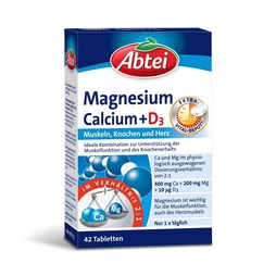 Abtei Magnesium + Calcium + D3 Tabletten Packung – 42 Tabletten